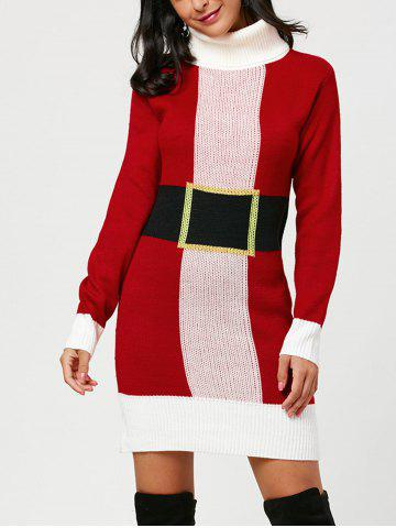 Trendy Belted Pattern Christmas Turtleneck Sweater Dress - ONE SIZE RED Mobile