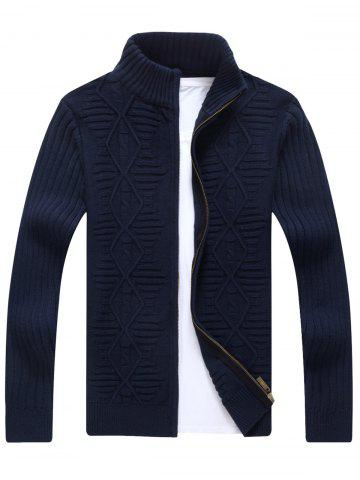 New Zip Up Cable Knit Cardigan - 3XL CADETBLUE Mobile