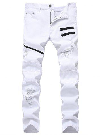 Zip Embellished Ripped Jeans Blanc 38