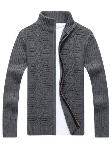 Fashion Zip Up Cable Knit Cardigan - 3XL GRAY Mobile