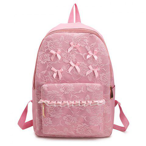 Shop Ribbon Lace Bow Backpack - PINK  Mobile