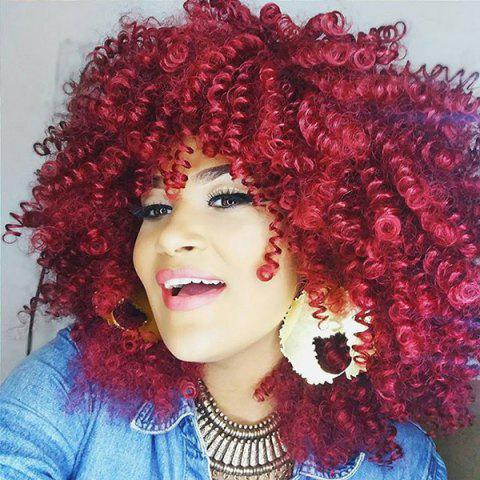Hot Medium Inclined Bang Fluffy Afro Curly Synthetic Wig WINE RED