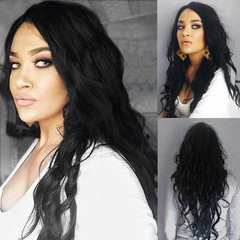 Cheap Side Parting Long Shaggy Natural Wave Synthetic Wig - BLACK  Mobile