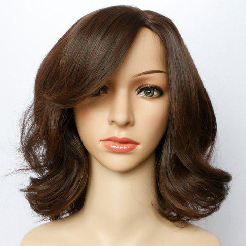 Unique Short Side Parting Bouffant Wavy Synthetic Wig LIGHT BROWN 14INCH