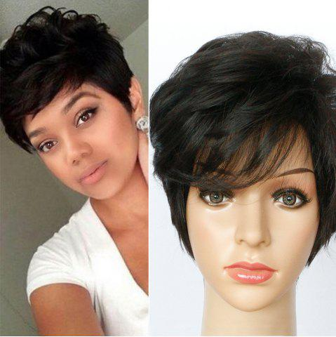 Discount Short Side Bang Fluffy Textured Slightly Curled Synthetic Wig - JET BLACK 01#  Mobile