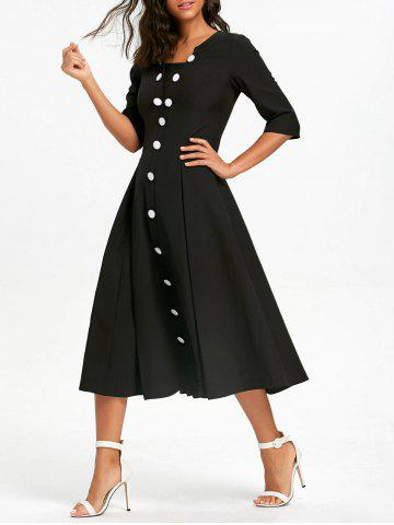 Outfits Button Up Half Sleeve Vintage Dress - S BLACK Mobile