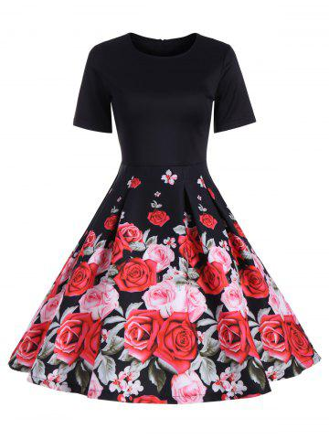 Online Short Sleeve Floral Vintage A Line Dress BLACK S