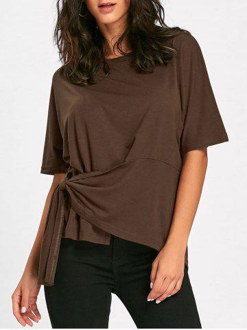 Chic Asymmetrical Batwing Sleeve Front Tie T-shirt - S COFFEE Mobile