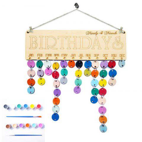 Shops DIY Colorful Wooden Family And Friends Birthdays Calendar Board