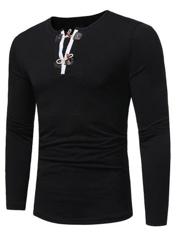 Chic Long Sleeve PU Leather Horn Button T-shirt - 2XL BLACK Mobile