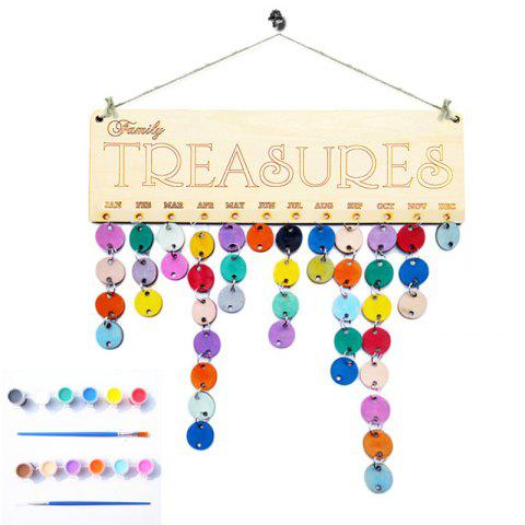 Latest Family Birthday Calendar Reminder DIY Colorful Wooden Board ROUND