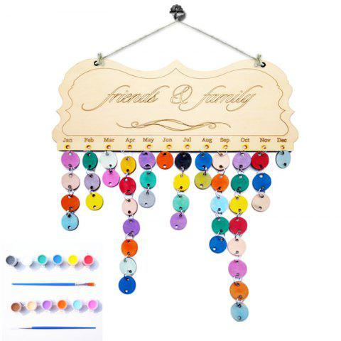 Online DIY Colorful Wooden Friends And Family Birthday Calendar Board - ROUND  Mobile