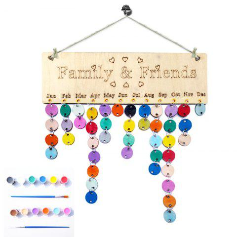 Sale DIY Colorful Wooden Family And Friends Birthday Reminder Calendar - ROUND  Mobile
