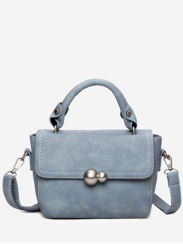 New Faux Leather Stitching Tote Bag LAKE BLUE