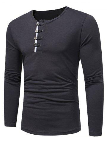 Sale Long Sleeve Buttons Embellished T-shirt DEEP GRAY M