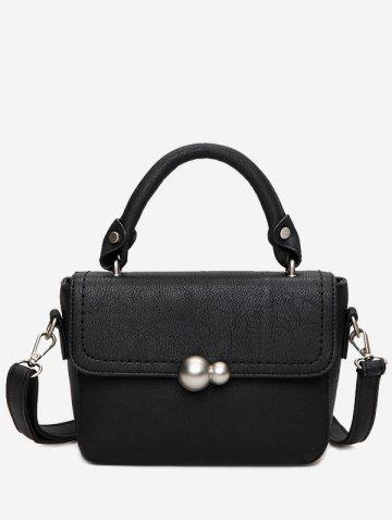 Store Faux Leather Stitching Tote Bag BLACK