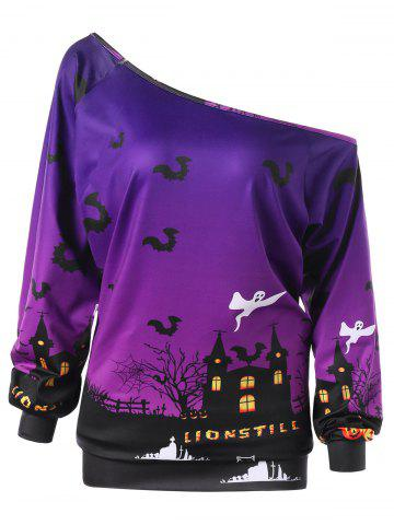 Discount Plus Size Halloween Graphic Skew Neck Sweatshirt PURPLE XL