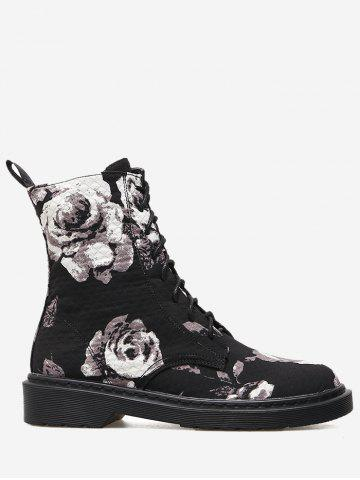 Online Lace Up Stitching Floral Boots - 35 BLACK Mobile