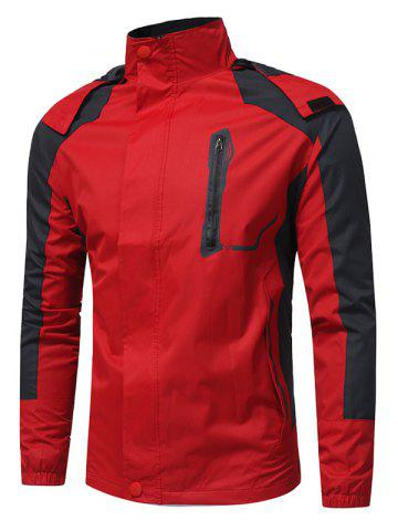 Trendy Color Block Hooded Technical Zip Up Jacket - M RED Mobile