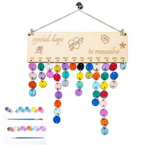 Cheap DIY Colorful Wooden Special Days Birthday Calendar Board - ROUND  Mobile