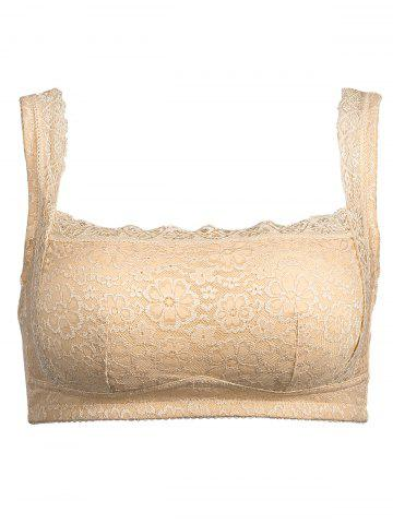 Shop Plus Size Wirefree Padded Lace Trim Bra - 3XL COMPLEXION Mobile