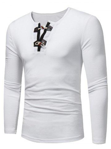 Shop Long Sleeve PU Leather Horn Button T-shirt - 3XL WHITE Mobile