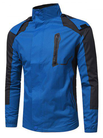 Hot Color Block Hooded Technical Zip Up Jacket - L BLUE Mobile