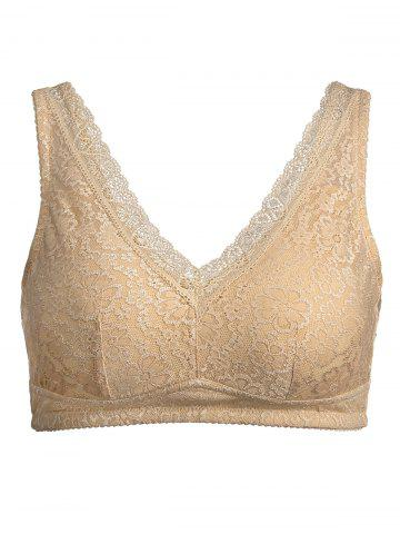 Fashion Plus Size Wirefree Padded Nonadjustable Lace Bra COMPLEXION 3XL