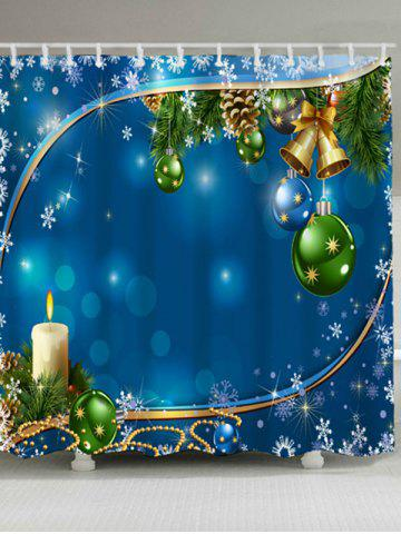 Affordable Christmas Bell Ball Waterproof Fabric Shower Curtain BLUE W71 INCH * L71 INCH