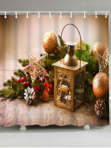 Online Christmas Candle Ball Waterproof Bath Curtain LIGHT BROWN W59 INCH * L71 INCH