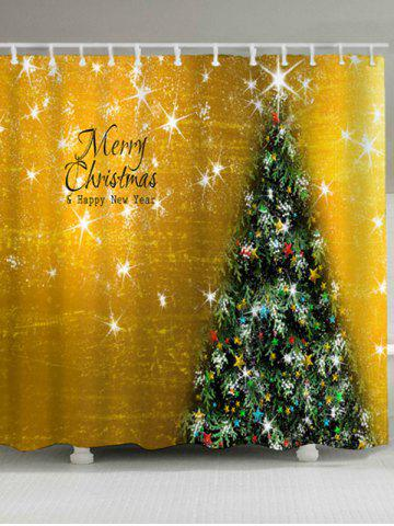 New Waterproof Fabric Christmas Tree Shower Curtain GOLDEN W71 INCH * L79 INCH
