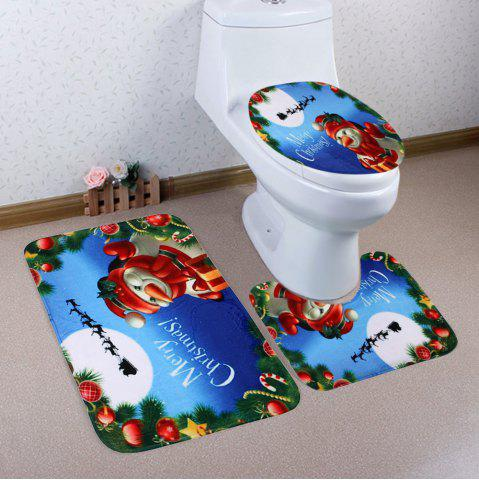 Trendy Christmas Snowman 3Pcs Bath Toilet Rugs Set