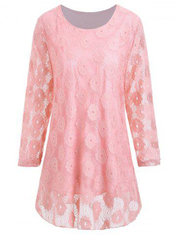 Shop Plus Size Longline Floral Lace Panel Blouse PINK 4XL