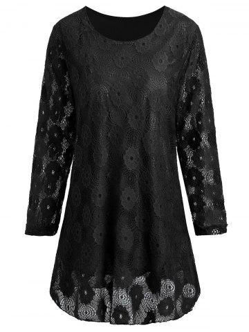Discount Plus Size Longline Floral Lace Panel Blouse BLACK 5XL