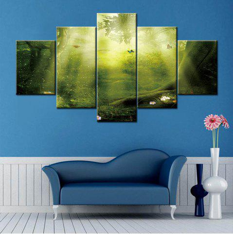 Outfits Wall Art Sunshine Forest Print Split Canvas Paintings GREEN 1PC:12*31,2PCS:12*16,2PCS:12*24 INCH( NO FRAME )