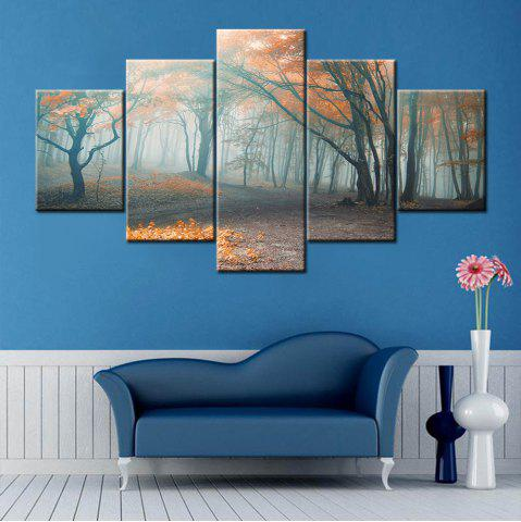 Store Fog Forest Print Split Canvas Wall Art Paintings COLORMIX 1PC:10*24,2PCS:10*16,2PCS:10*20 INCH( NO FRAME )