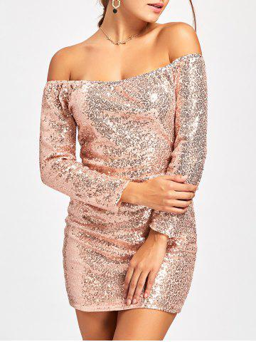 Outfits Scoop Neck Sequined Mini Glittery Dress PINKBEIGE M
