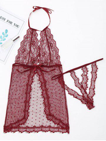 Fancy Sheer Halter Babydoll with Lace - L WINE RED Mobile