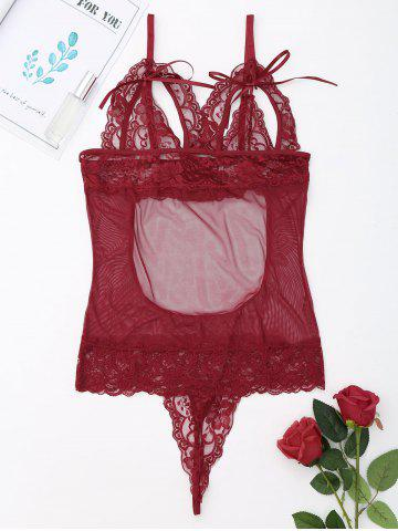 Hot See Through Lace Slip Teddy - M WINE RED Mobile