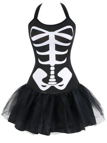 Online Mesh Skeleton Halloween Costume - XL BLACK Mobile