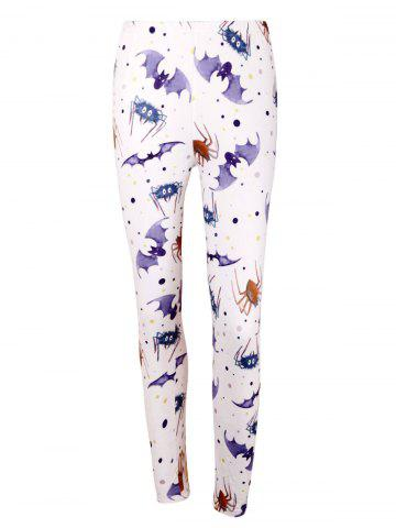 Affordable Bat Spider Print High Waist Halloween Leggings LIGHT PURPLE 2XL