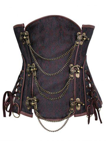 New Chains Panel Steampunk Corset - S DEEP BROWN Mobile