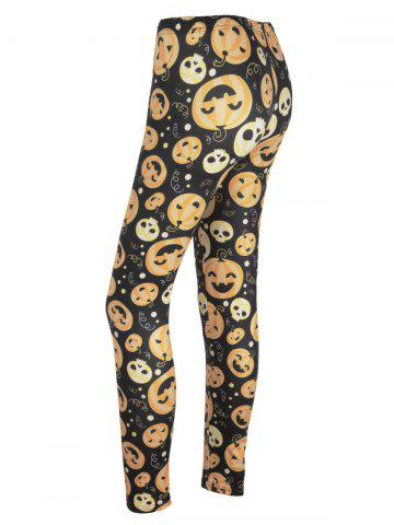 Online Pumpkin Face Print High Waisted Halloween Leggings - L BLACK AND ORANGE Mobile
