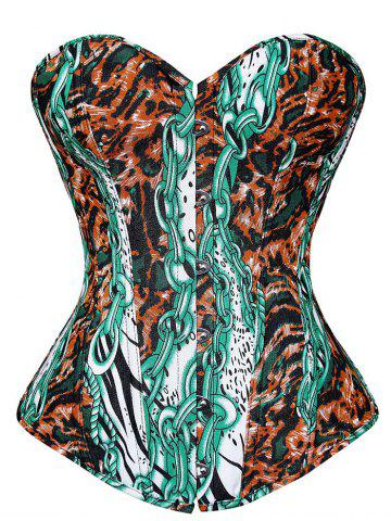 New Steel Boned Printed Corset Top - 2XL COLORMIX Mobile