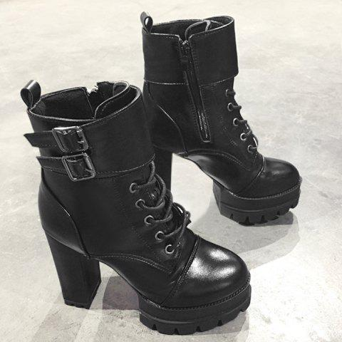 Chic Buckle Strap Platform High Heel Ankle Boots