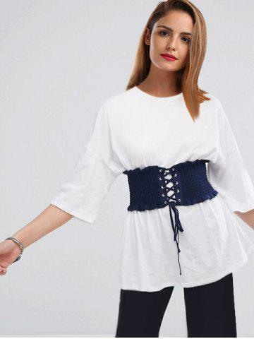 New Drop Shoulder Tunic T-shirt with Corset Belt - XL WHITE Mobile