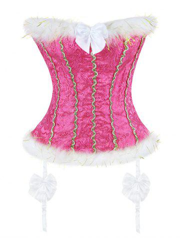 Cheap Corset Top with Faux Fur Trim WATER RED L