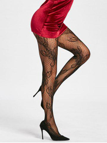 Flower Fishnet See Through Tights