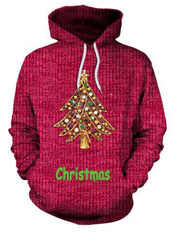 Buy Christmas Tree Rhinestone Kangaroo Pocket Hoodie RED M