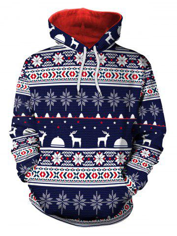 Sweat à capuche en flocon de neige de Noël Elk Bleu 2XL